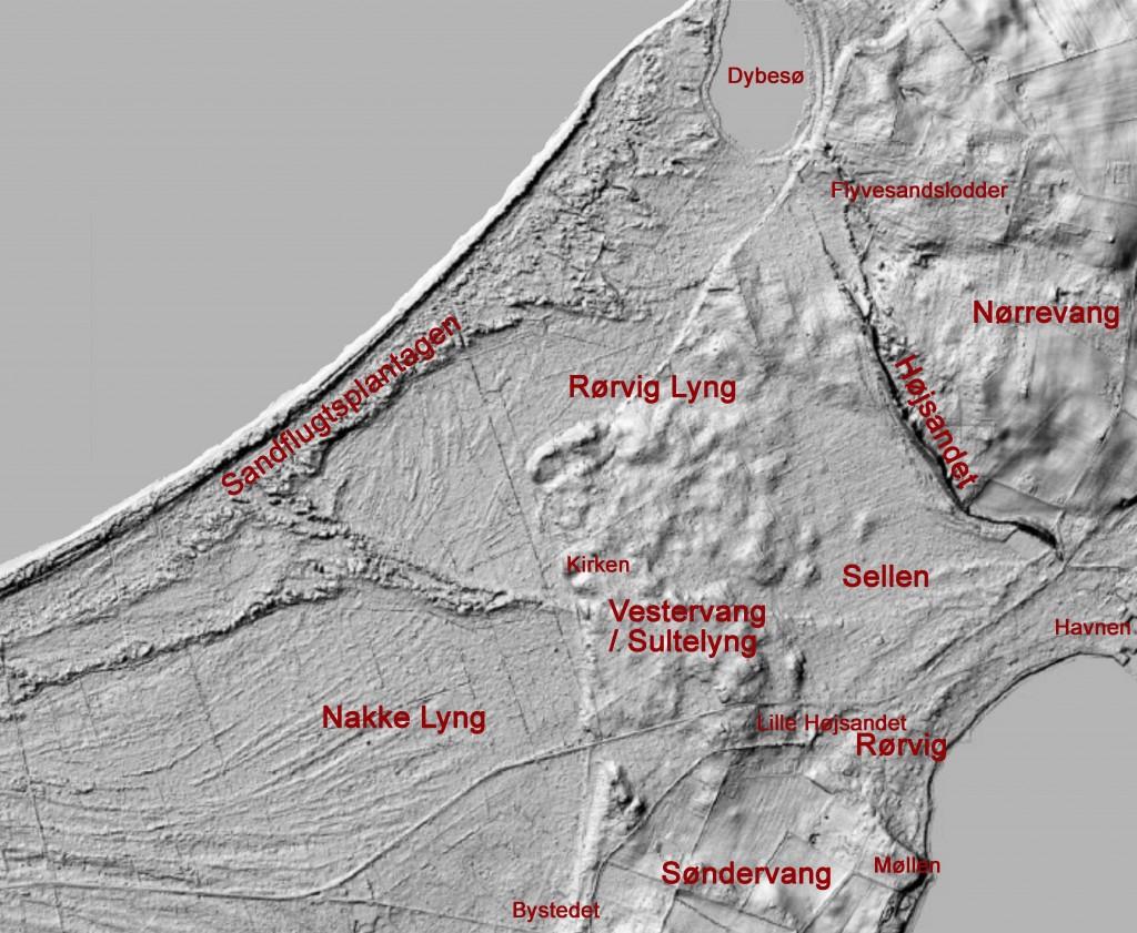 Skyggefoto af sandflugtsområdet  - klik for større udgave